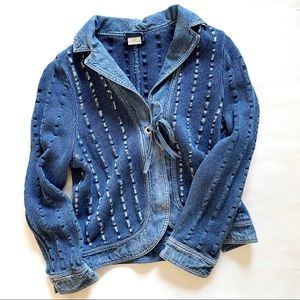 Blue Willis Chunky Knit & Denim Jacket